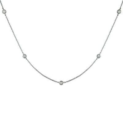 1/2 TCW Diamond By The Yard Station Necklace Round 14k Solid Gold F/ SI/ Natural