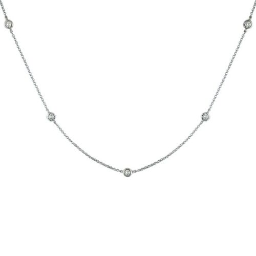 94c938cf26f9b 1/2 TCW Diamond By The Yard Station Necklace Round 14k Solid Gold F ...