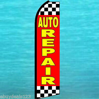 Auto Repair Extra Wide Swooper Flag Feather Flutter Advertising Sign Banner