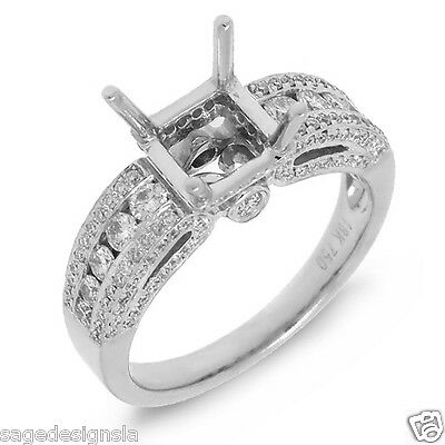 7x7mm Princess Cut Diamond Semi Mount Engagement Ring Setting 18K White Gold