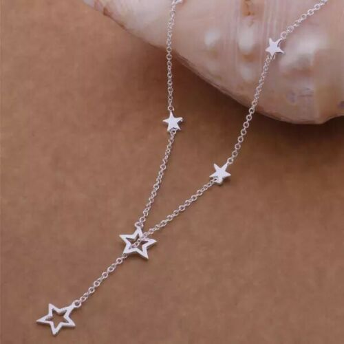925 Sterling Silver Multi-Star Lariat Y-Shape Charm Pendant Necklace 16″ N174 Fashion Jewelry