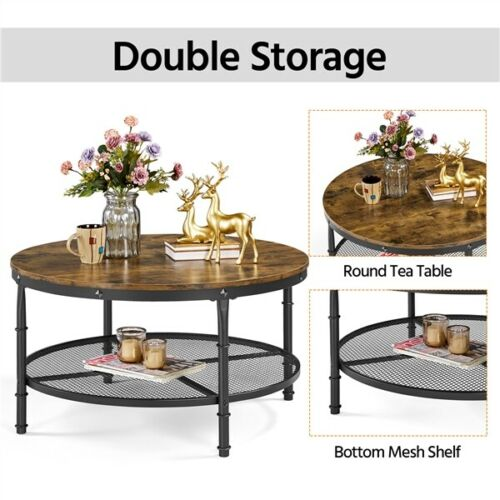 2-Tier Rustic Round Coffee Table Home Furniture w/ Storage Shelf for Living Room 1