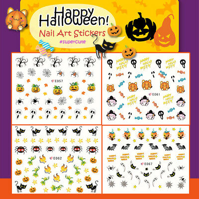 Halloween ! Nail Art Stickers Self-adhesive Kids Cute Pumpkin Black Cat Spider - Halloween Art Kids