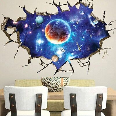 Wall Sticker 3D Outer Space Home Decor Mural Art Removable Galaxy Decal DIY