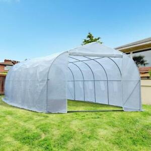 26'L x 10'W x 6.5'H Large Outdoor Heavy Duty Walk-In Greenhouse Steel Frame White Brand New in box Direct from factory