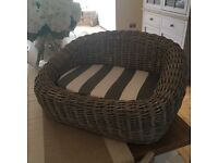 Dog or cat wicker striped bed