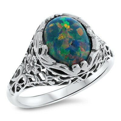 VICTORIAN BLACK OPAL LAB Cr 925 STERLING SILVER FILIGREE RING SIZE 10,      #777