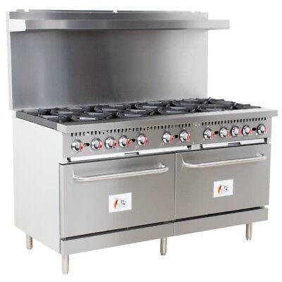60 10 Burner Commercial Restaurant Natural Gas Range With 2 Ovens