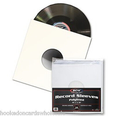 50 BCW Paper Record Album Sleeves 33 RPM Polylined Square Corners with hole
