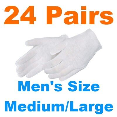 24 Pair Mens Large White Cotton Lisle Inspection Gloves Photos Silver Brass Coin
