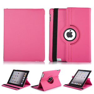 HOT PINK 360 ROTATING PU LEATHER CASE COVER FOR IPAD MINI 1, 2,3