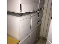 9 X light grey under desk pedestals. 60cm in height. Delivery.
