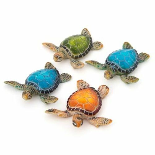 """Set of 4 Sea Turtle Figurines 3.25"""" Long Textured Polystone Brown Blue Green"""