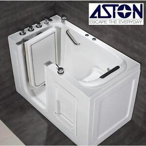 "NEW ASTON WALK IN WHIRLPOOL TUB 4'6"" WHITE CHROME TRIM FAUCET SHOWER BATH BATHROOM TUBS SHOWERS BATHTUB 107953616"
