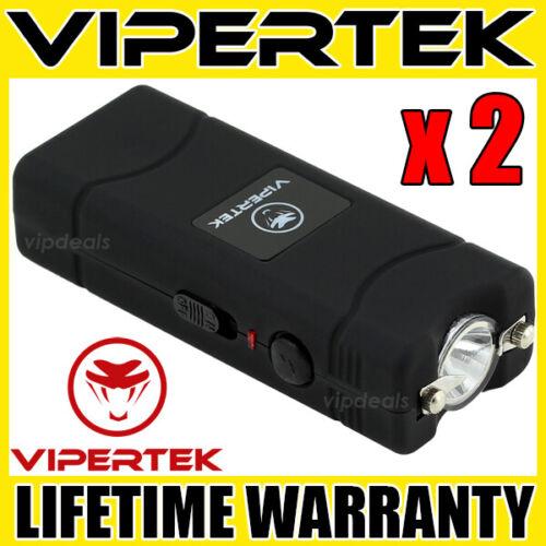 (2) VIPERTEK BLACK VTS-881 Micro Stun Gun Self Defense Wholesale Lot
