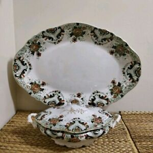 Antique Beautiful Platter And Serving Bowl Set