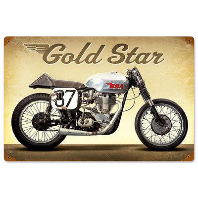 Gold Star BSA Metal Sign 18x12 Distressed Vintage Motorcycle Garage Decor