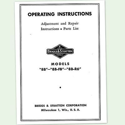 Briggs And Stratton 8b-fb Engine Operators Repair Manual Service Owners Bs