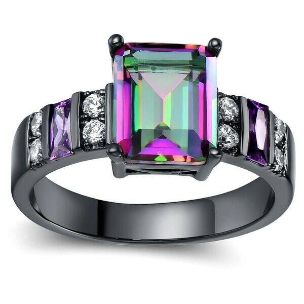 Mystic Topaz Ring Black Sterling Silver Cz Rainbow Heart 6 7 8 9 Size Fire Topaz Fashion Jewelry