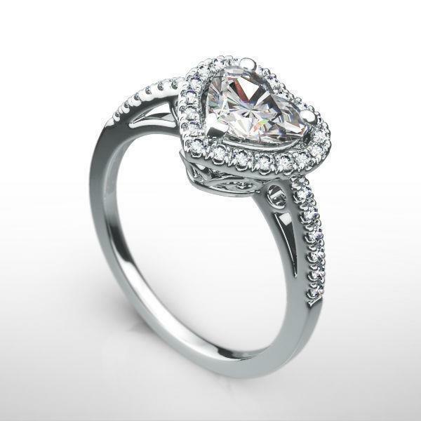 Filigree Flawless Diamond Ring Vs1 D Heart Estate 18 K White Gold 1.25 Ct