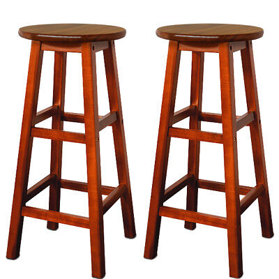 Wooden Bar Stool Set 2x Kitchen Breakfast Chair Dining Barstool Chairs Pub Wood