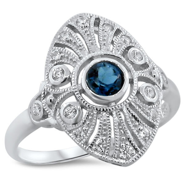 GENUINE LONDON BLUE TOPAZ 925 STERLING SILVER ART DECO STYLE RING SIZE 6,   #194