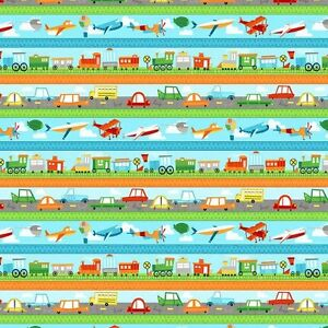 On the go cars trains planes transport 100 cotton fabric for Train themed fabric
