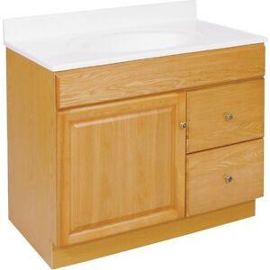 bathroom vanity base cabinet oak 36 wide x 21 deep new fast deliv