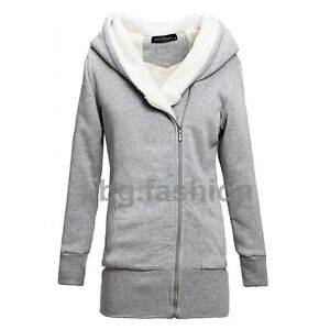 Women Winter Hooded Oblique Zipper Outerwear Long Sleeve Jacket Coat Sz 8-24