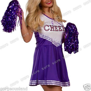 Cheer School Girl Cheerleader Sports Uniform Fancy Dress Outfit  w/ pom poms