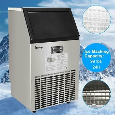 Commercial Ice Maker Stainless Steel Ice Cube Machine Built-in Restaurant 99LBS