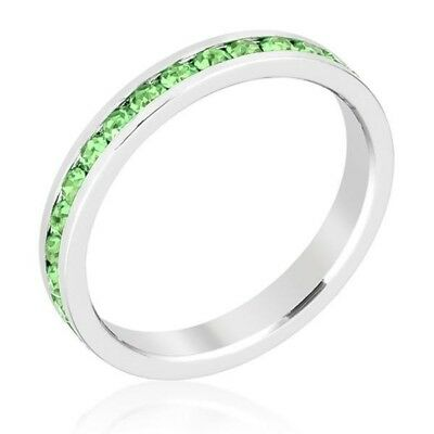 (Size 10 Stackable Eternity Ring Peridot Swarovski Crystals August Birthstone)