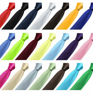 Mens Narrow Necktie Solid Satin Slim Neckties - New