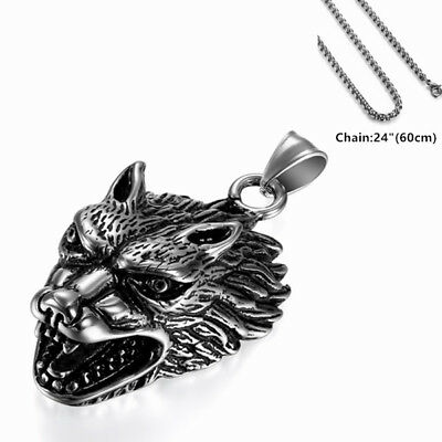 Retro Viking Wolf Head Stainless Steel Pendant Necklace w 24