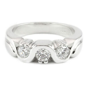 14k white gold cubic ring (new, 6.3g, 3 stones) #3143