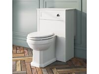 Back to wall toilet with white soft close seat