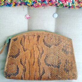 Vintage snakeskin clutch / make up bag