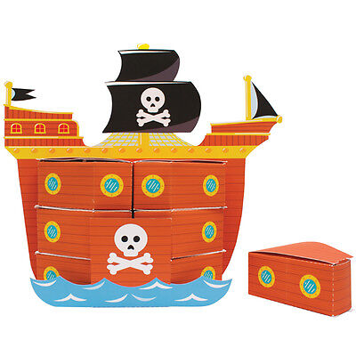 Pirate Ship Table Decoration (Pirate Ship Favor Box Centerpiece, Treat Box Birthday Party Table Decor Loot 8p)