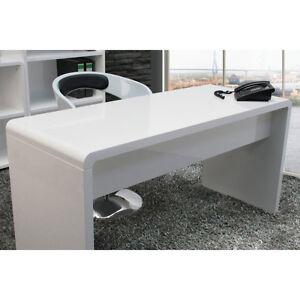 Office Desk :: Large High Gloss WHITE Workstation Computer Work Reception Desk