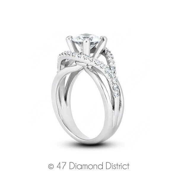 1.16ct Tw D-si2 Round Earth Mined Certified Diamonds 14k Gold Side-stone Ring