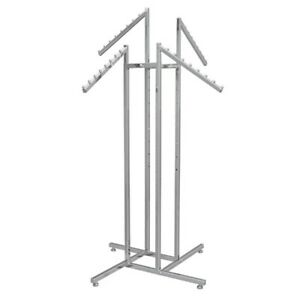 4-way clothes rack with waterfall hooks chrome MINT