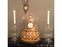 Large chic antique working vintage domed clock