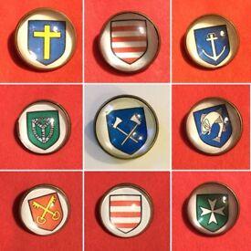 Jersey Island Parish, Coat of Arms, Glass Pin/Brooch. Unisex, Free P&P