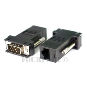 1 Pair (2 pcs) VGA SVGA to RJ45 Video Extender Adapters HD15 to CAT5e CAT6 100'
