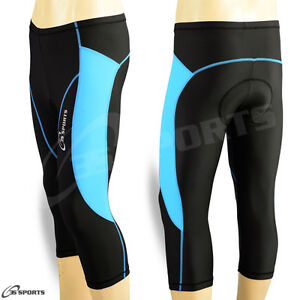 Ladies-Cycling-Shorts-Three-Quarter-3-4-Padded-Coolmax-Legging-SkyBlue-S-M-L-XL