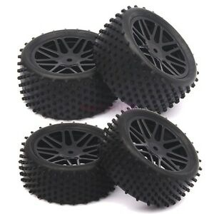 SET-RC-1-10-Off-Road-Buggy-Car-Front-Rear-Tyre-Tires-Wheel-Rim-Black-66020-66040