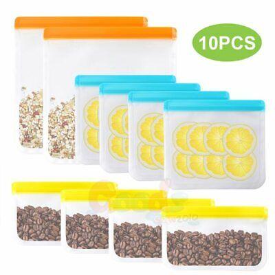 10pcs Zip Lock Reusable Food Container Storage Thick Freezer Food Fresh Bag