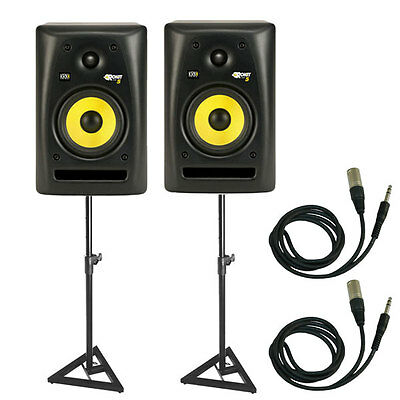 "KRK RP5G2 Rokit 5"" Powered Desktop Studio Monitors w/ Monitor Stands & Cables on Rummage"