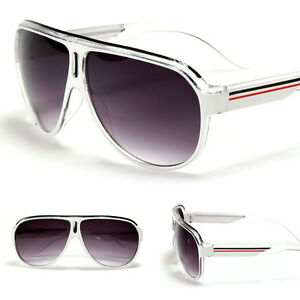NEW Fashion Aviator's Retro Turbo White Striped Sunglasses Men's Women's Shades