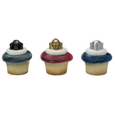 Cake Toppers Star Wars Cupcake Rings One Dozen C3-PO, Vader, R2-D2 (Star Wars Cupcake Rings)